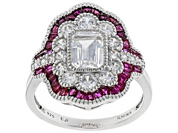 Picture of Lab Created Ruby And White Cubic Zirconia Rhodium Over Silver Ring 3.57ctw