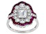 Lab Created Ruby And White Cubic Zirconia Silver Ring 3.57ctw