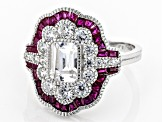 Lab Created Ruby And White Cubic Zirconia Rhodium Over Silver Ring 3.57ctw