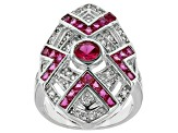 Red And White Cubic Zirconia Silver Ring 2.26ctw