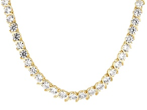White Cubic Zirconia 18k Yellow Gold Over Sterling Silver Necklace 56.33ctw