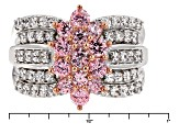 Pink And White Cubic Zirconia Silver Ring 4.25ctw (2.23ctw DEW)