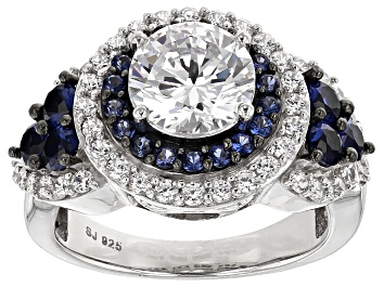 Picture of White Cubic Zirconia And Lab Created Sapphire Silver Ring 5.68ctw