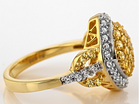 Yellow And White Cubic Zirconia 18k Yellow Gold Over Silver Ring 2.42ctw (.99ctw DEW)