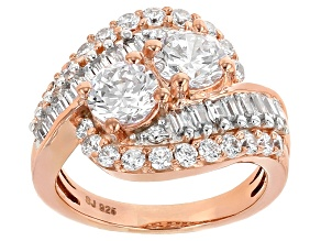 Cubic Zirconia 18k Rose Gold Over Silver Ring 5.15ctw (3.17ctw DEW)