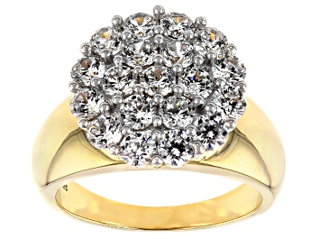Picture of Cubic Zirconia 18k Yellow Gold Over Silver Ring 3.80ctw (2.09ctw DEW)