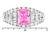 Pink And White Cubic Zirconia Silver Ring 4.44ctw (3.20ctw DEW)