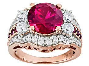 Synthetic Red Corundum And White Cubic Zirconia 18k Rose Gold Over Silver Ring 7.50ctw