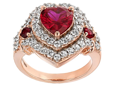 Red Lab Created Ruby And White Cubic Zirconia 18k Rose Gold Over Silver Heart Ring 4.41ctw