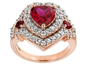 Synthetic Red Corundum And White Cubic Zirconia 18k Rose Gold Over Silver Heart Ring 4.41ctw