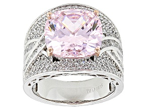 Pink And White Cubic Zirconia Silve Ring 14.30ctw (7.90ctw DEW)