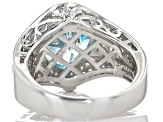 Blue And White Cubic Zirconia Silver Ring 6.78ctw (4.99ctw DEW)