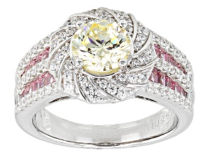 Yellow, Pink And White Cubic Zirconia Silver Ring 4.11ctw (2.35ctw DEW)