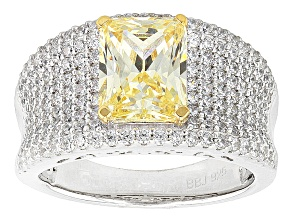 Yellow And White Cubic Zirconia Silver Ring 5.97ctw (3.45ctw DEW)