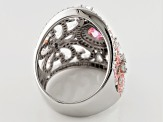 Pink And White Cubic Zirconia Silver Ring 6.19ctw (3.75ctw DEW)