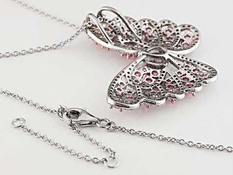 White & Pink Cubic Zirconia Rhodium Over Silver Butterfly Pendant With Chain 6.65ctw (3.94ctw DEW)