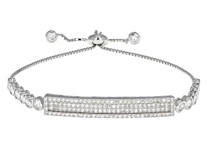 White Cubic Zirconia Rhodium Over Sterling Silver Adjustable Bracelet 3.34ctw