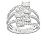 White Cubic Zirconia Rhodium Over Sterling Silver Ring 2.78ctw