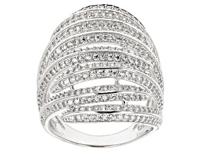 White Cubic Zirconia Rhodium Over Silver Ring 4.14ctw