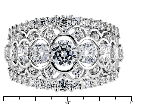 White Cubic Zirconia Rhodium Over Silver Ring 4.98ctw