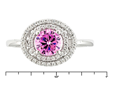 Pink And White Cubic Zirconia Rhodium Over Silver Ring 2.00ctw