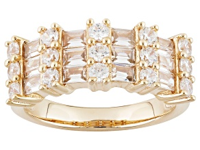 White Cubic Zirconia 18k Yellow Gold Over Silver Ring 2.71ctw