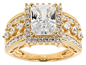 White Cubic Zirconia 18k Yellow Gold Over Silver Ring 5.93ctw