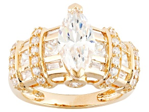 White Cubic Zirconia 18k Yellow Gold Over Silver Ring 5.38ctw