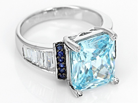 Synthetic Sappphire And Blue And White Cubic Zirconia Silver Ring 12.22ctw