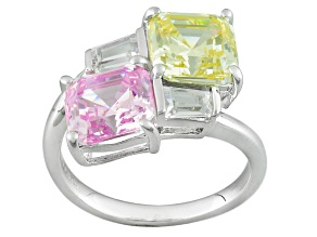 Pink, Yellow And White Cubic Zirconia Silver Ring 10.20ctw (4.38ctw DEW)