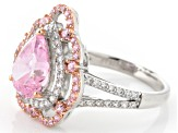 Pink And White Cubic Zirconia Silve Ring 5.19ctw (3.03ctw DEW)