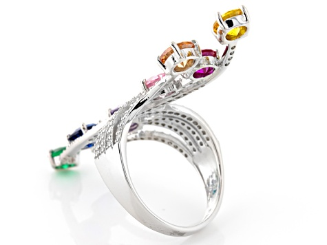 Lab Created Blue, Red And Green Corundum And Muticolor Cubic Zirconia Silver Ring 6.25ctw