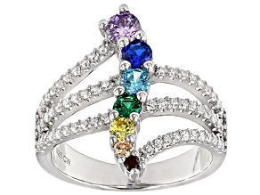 Lab Created Blue Corundum And Multicolor Diamond Simulant Ring 1.60ctw