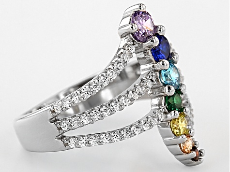 Lab Created Blue Corundum And Multicolor Diamond Simulant Ring 1.60ctw