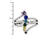 Lab Created Blue Sapphire And Multicolor Cubic Zirconia Ring 1.60ctw
