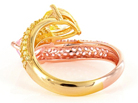 Yellow And Pink Cubic Zirconia 18k Yellow And Rose Gold Over Silver Ring 5.28 (3.24ctw DEW)