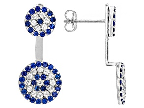 Blue And White Cubic Zirconia Rhodium Over Silver Earrings 1.22ctw