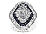 Synthetic Sapphire And White Cubic Zirconia Silver Ring 5.84