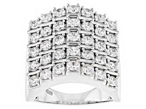 Cubic Zirconia Silver Ring 4.10ctw (2.10ctw DEW)