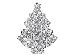 White Cubic Zirconia Rhodium Over Silver Brooch 3.43ctw