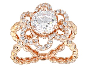 White Cubic Zirconia 18k Rose Gold Over Silver Ring 2.55ctw