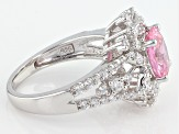 Pink And White Cubic Zirconia Sterling Silver Ring 4.89ctw