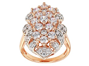 White Cubic Zirconia 18k Rose Gold Over Silver Ring 4.24ctw