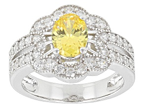 Canary And White Cubic Zirconia Sterling Silver Ring 3.08ctw