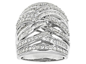 Cubic Zirconia Rhodium Over Sterling Silver Ring 3.97ctw (2.38ctw DEW)