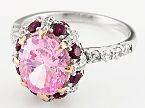 Synthetic Red Corundum And Pink And White Diamond Simulants Ring 5.92ctw