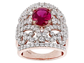 Synthetic Red Corundum And White Cubic Zirconia 18k Rose Gold Over Silver Ring 8.33ctw