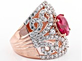 Red Lab Created Ruby And White Cubic Zirconia 18k Rose Gold Over Silver Ring 8.33ctw