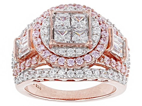 Cubic Zirconia 18k Rose Gold Over Silver Ring 4.91ctw (2.71ctw DEW)
