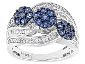 Synthetic Blue Sapphire And White Cubic Zirconia Silver Ring 1.37ctw